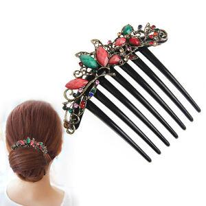 Retro-Flower-Mix-Color-Metal-Diamond-Rhinestone-Wedding-Hair-Comb-Pin-Clip-4-22-034