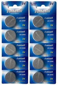 10-x-CR2450-3V-540-mAh-Lithium-Batterie-2-Cards-a-5-Batterien-Euni