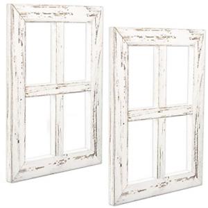 2 Pk Window Frame Wall Decor Rustic White Wood Window Pane Farmhouse Decorations Ebay