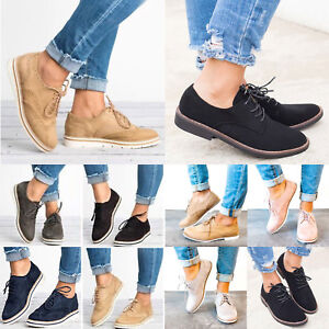 Women-Flats-Lace-Up-Brogues-Loafers-Plimsolls-Sneakers-Oxfords-Casual-Flat-Shoes