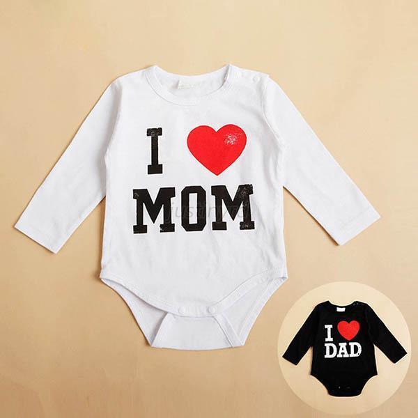 Summer Kids Baby Boys Girl Toddler Cute I Love MOM/DAD Print Romper Jumpsuit J46