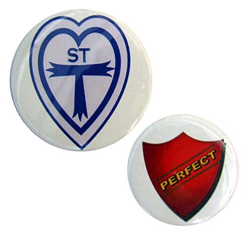 75mm School logo 58mm Perfect Prefect Badges St Trinians Fancy Dress Badge Set