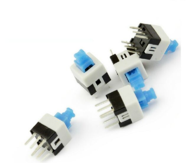 50PCS Push Button Non Latching Momentary Tactile Switch 7x7mm Blue Button 6-Pin