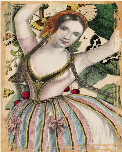 Gypsy dancer Butterflies VINTAGE ENAMEL METAL TIN SIGN WALL PLAQUE