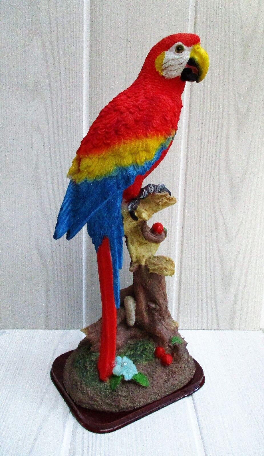 Grande figurine oiseaux Perroquet / bird Parrot sur socle en bois
