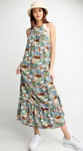 Easel Brand Anthropologie Floral Halter Long Maxi Dress Boho S Small