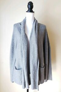 Eileen-Fisher-Womens-Cardigan-Sweater-Open-Front-Wool-Gray-Size-Xtra-Large