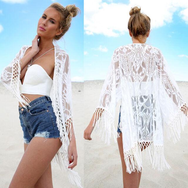 Sexy Women Lace Crochet Tassel Bikini Swimwear Cover Up Beach Dress Bathing Suit
