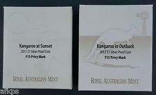 2011 AND 2012 Australia Kangaroo @ Sunset & Outback Silver Proof Coins F15-Privy