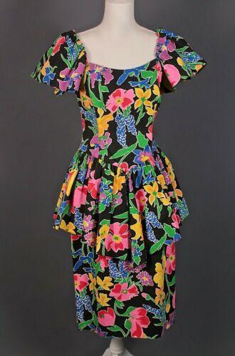 VTG Womens 80s Floral Peplum Dress Sz S 1980s Puff