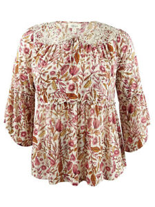 Style-amp-Co-Women-039-s-Plus-Size-Printed-Bell-Sleeve-Peasant-Top