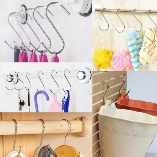 20Pcs S Shaped Hanging Hooks Stainless Steel for Kitchen Bathroom Bedroom