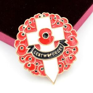 Details about 5PCS Enamel Red Broach Flower Pin Brooch Remembrance Lapel  Banquet Poppy Badge