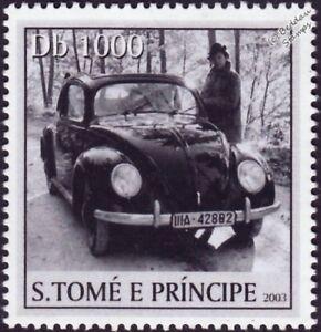Volkswagen Vw Beetle Käfer Voiture Timbre #6 Noir (2003 St Thomas Et Prince Des îles)-afficher Le Titre D'origine RéTréCissable