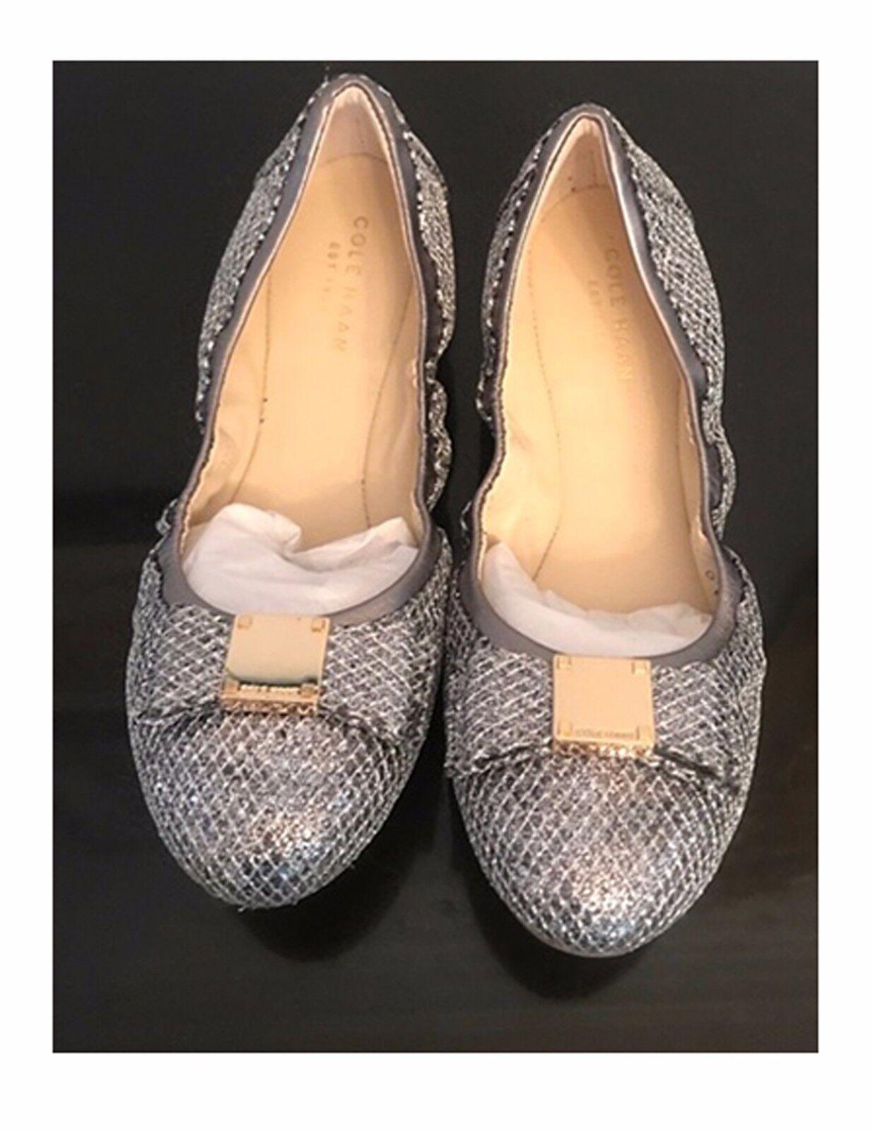 NEW    180 Cole Haan Tali Metallic Glitter Bow Ballet Flats 6 2faed4