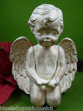 Figur Keramik ★ ENGEL ★ H:17 cm HANDBEMALT creme Angel figurine Ange Statuette