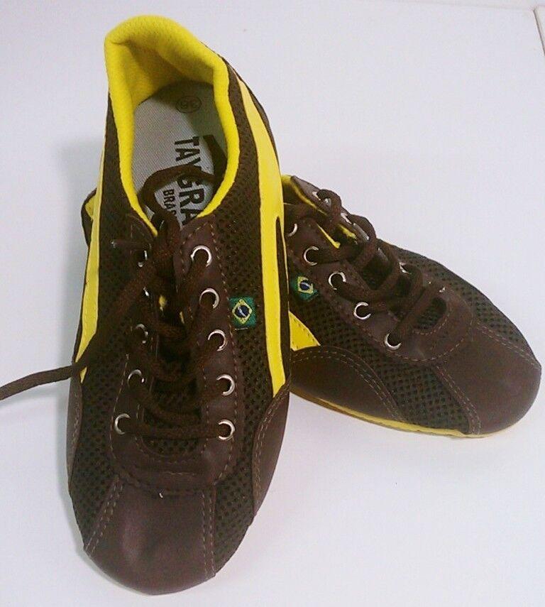 Taygra Brasil Braun & Yellow Slim Sneakers Größe Flexible & Light Schuhes Größe Sneakers 37 Unisex 4080c3