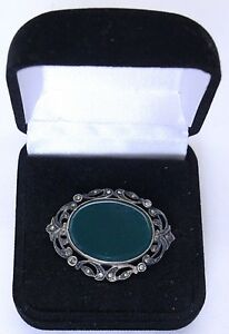 Art-Deco-Sterling-Marcasite-and-Chrysoprase-Brooch-pin-signed-Germany-Sterling