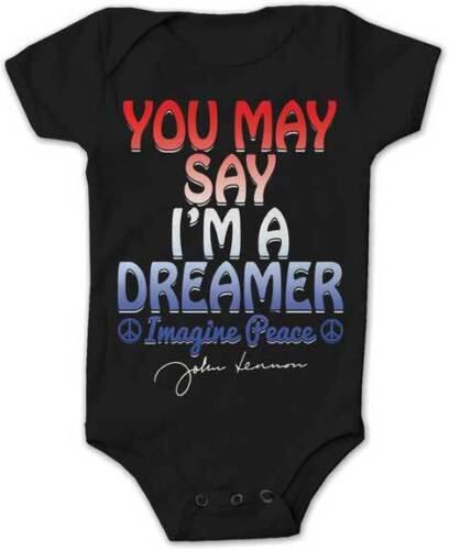 JOHN LENNON YOU MAY SAY IM A DREAMER ROCK N ROLL ART BABY INFANT ROMPER BODYSUIT