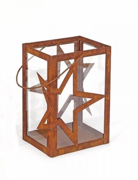 Edelrost Windlicht  Stern  Metall   Glaseinsatz 45cm