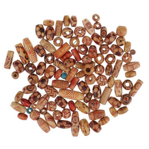 100pcs Wooden Boho Mixed Large Hole European Beads for jewelry beading making