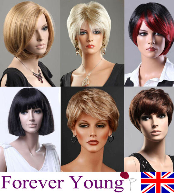 Ladies Short Blonde Full Wig Black Brown Wig Bob Curly Wedge Fashion Wigs UK