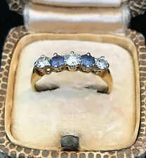 ART Deco 18ct, 18k, 750 Oro Zaffiro & Diamante Cinque Pietre RING 0.60ct, C1930