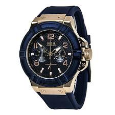 Guess U0247G3 Men's Trendy Blue Dial Rose Gold Steel Blue Strap Date Watch