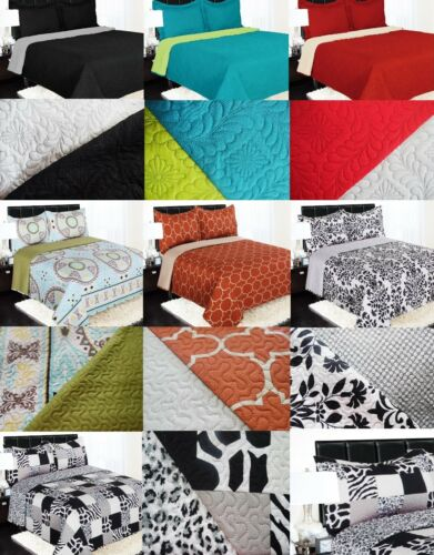 REVERSIBLE SOLID PRINTED QUILT BEDDING BEDSPREAD COVERLET PILLOW CASES SET 2//3PC