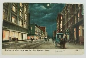 Postcard-Walnut-Street-East-from-8th-Street-Des-Moines-Iowa-Horse-Buggy-1908