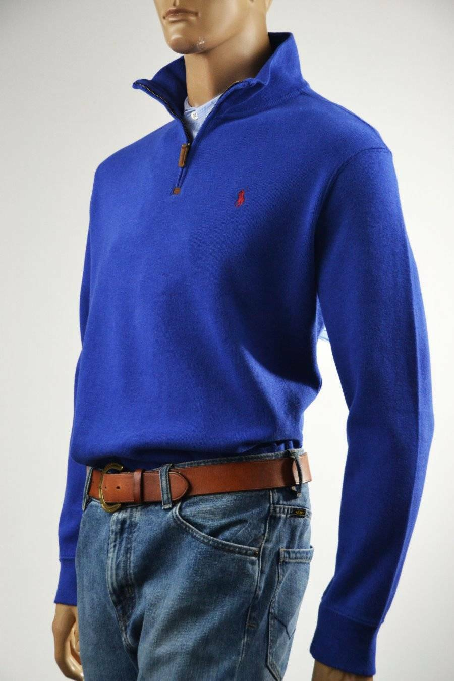Ralph Lauren French-Ribbed Royal bluee Half-Zip Sweater Red Pony -Small-NWT