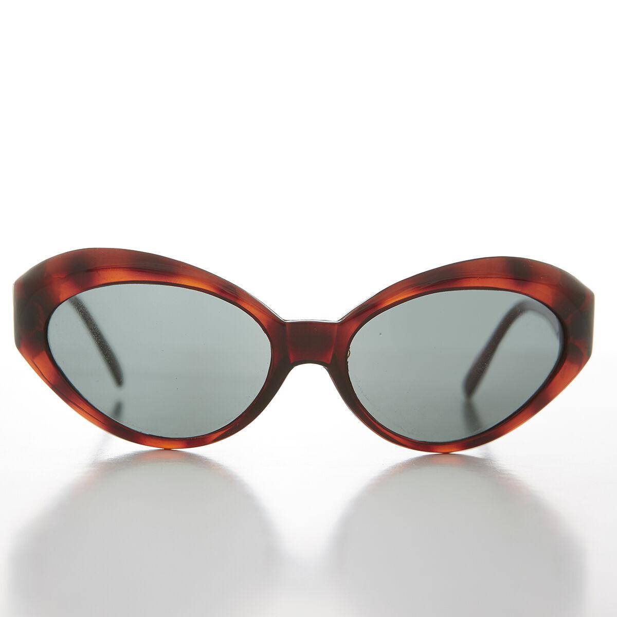 Land Tortoise Frame Bent Cat Eye Sunglasses 90s Retro with Glass Lens --show original title