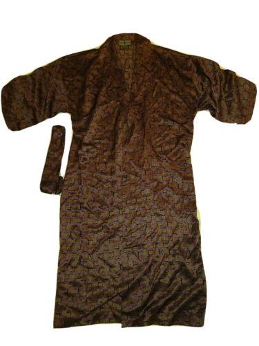 Vintage Robert Stock Red Black silk belted mens ro