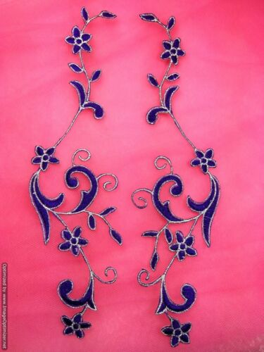 "Embroidered Appliques Purple Silver Flower Mirror Pair Vine Iron On 9/"" GB90"