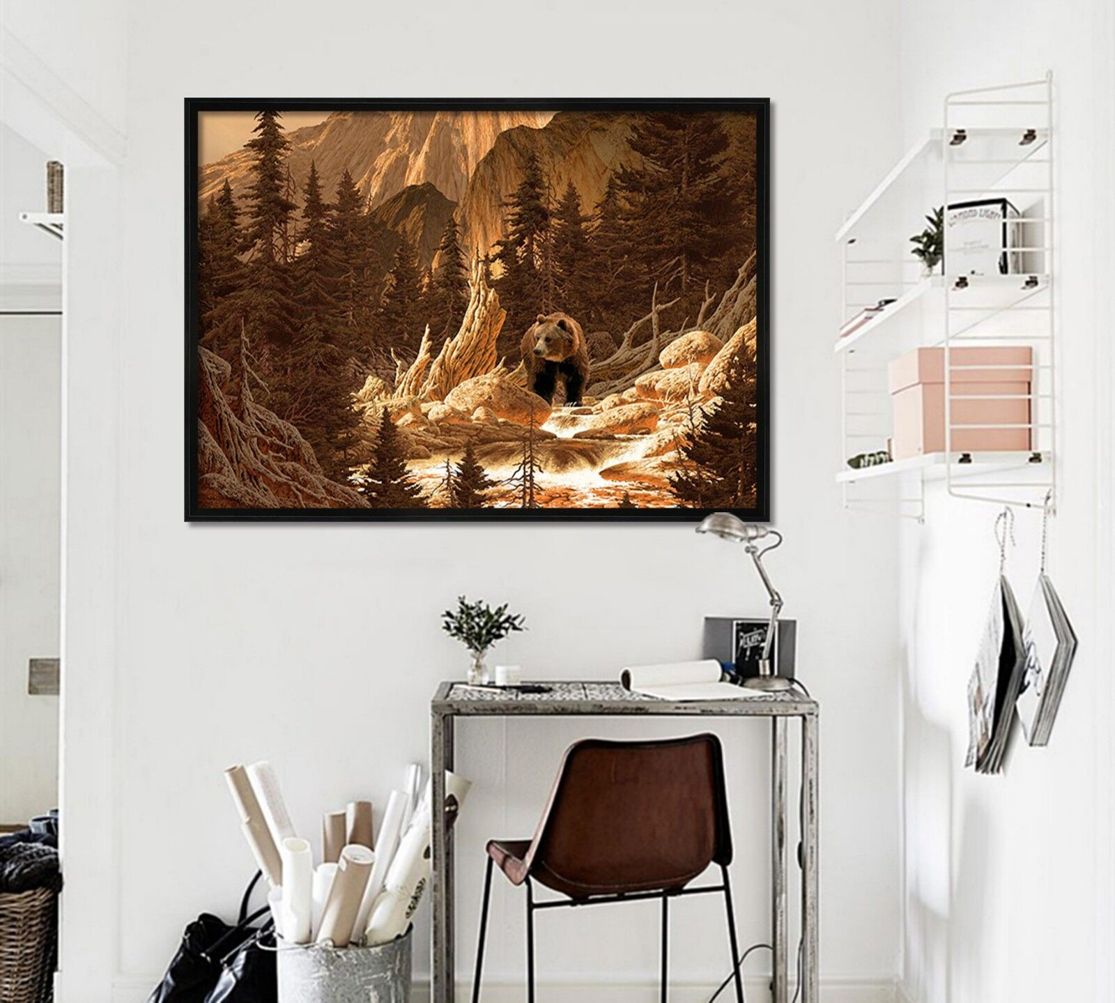 3D Bear Primitive Forest 1 Framed Poster Home Decor Print Painting Art WALLPAPER
