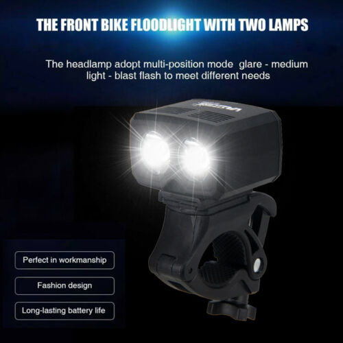 2400LM USB Rechargeable Bicycle Head Light Double LED Bike Lamp Rotating Mount E