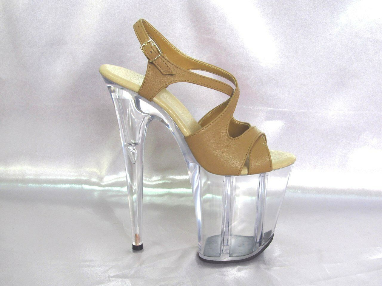 Exotic handmade sexy schuhe 8 high heel heel heel clear platform burlesque strip pole dance fef9be