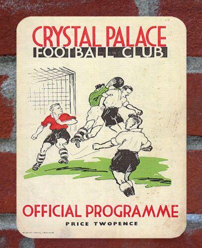 Vintage Tin Sign 1930s Crystal Palace Programme Metal Sign.