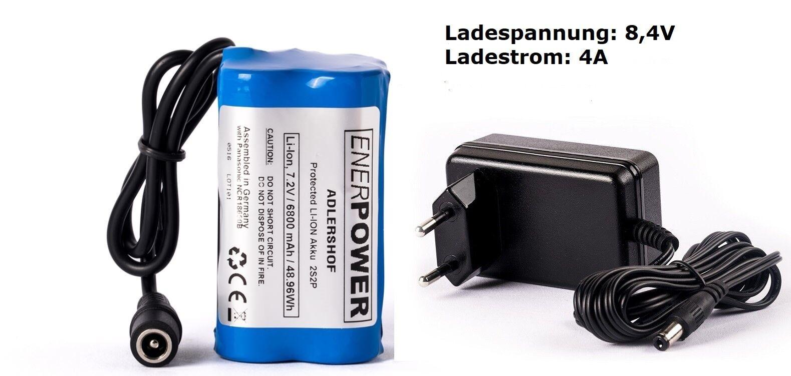 ENERpower Adlershof Akku 7,2V-7,4V Li-Ion 6800 mAh DC LED Lampe + Ladegerät 4A