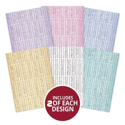 12 x A4 Musical Delights Designer Single Sided Papers from Hunkydory 150gsm NEW
