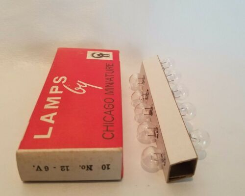 Box of 10 Chicago Miniature No 12 CM12 GE12 Lamps Light Bulbs 6V