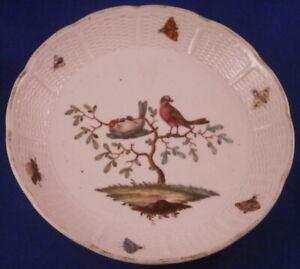 Antique-18thC-Ludwigsburg-Porcelain-Bird-Scene-Saucer-Porzellan-Scenic-German