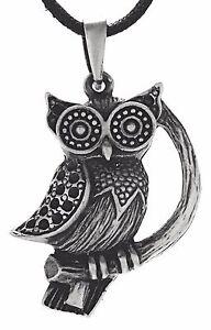 Owls pendant Tin Path Owl Branch Owl Night Bird Owl Chain Pendant No. 117