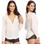 thumbnail 13 - Sexy Womens V-Neck Chiffon Tops Blouse Loose Long Sleeve Shirt Blouse Large Size