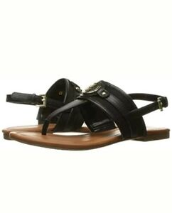 Tommy-Hilfiger-Jena-Navy-Blue-Flat-Thong-Sandals-Sz-7-Shoes-Gold-Logo-NEW-Womens