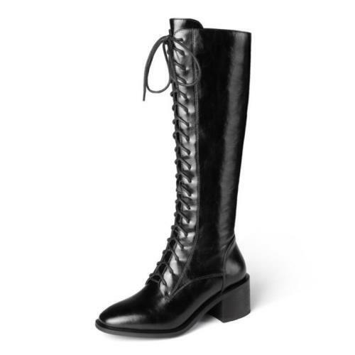 Details about  /Popular Women/'s Square Toe Solid Pattern Block Heel Knee High Boots Western L