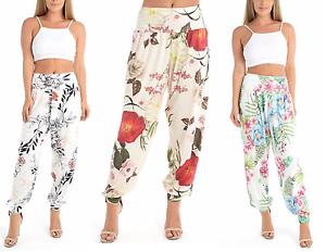 Mesdames Floral Leaf Print Harem Ali Baba Pantalon pour femme à revers Pantalon Pantalon 8-22