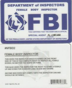 FBI Female Body Inspector Special Undercover Agent Novelty Drivers License Fake I.d Identification for Xfiles Fans