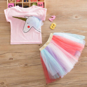 2PCS Girls Kids Shirt Tutu Skirt Dress Up Rainbow Unicorn Cosplay Party Outfit