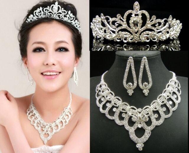 WDN109C HUGE Crystal Necklace + Earrings + Tiara Crown set Bridal Wedding Prom